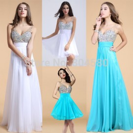 Crystal Beading Formal dress Knee Length Tank Prom Party Gown Short / Long Evening dresses Blue / White Chiffon 75067
