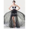Elegant Strapless appliques Short Front Long Back Prom dresses Party Evening Gown Black Runway dress Designer  CL6191