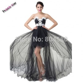 Elegant Strapless appliques Short Front Long Back Prom dresses Party Evening Gown Black Runway dress Designer  CL6191