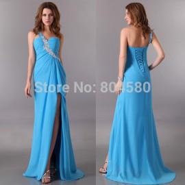 Fashion One shoulder Blue Purple Chiffon bandage Party dress Floor Length Long Evening Gown Women prom dresses CL3183