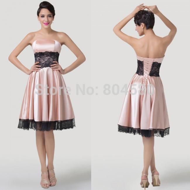 Fashion Women Knee Length Celebrity dress Lace Appliques Short Prom dresses Formal Banquet Evening Party Gowns CL6284