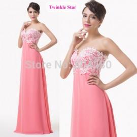 Fashion Women Vintage lace Appliques Evening dress Floor Length A Line Strapless Long prom dresses Formal Gowns CL6135