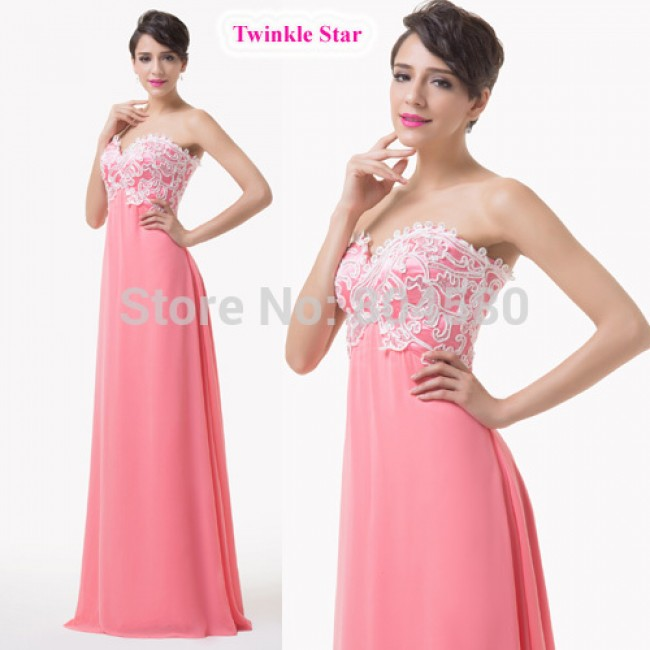 Fashion Women Vintage lace Appliques Evening dress Floor Length A Line Strapless Long prom dresses Formal Gowns CL6135