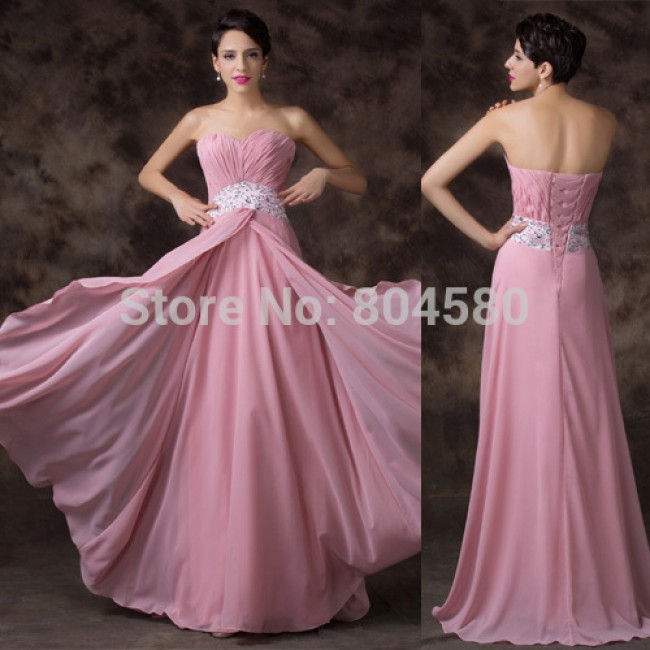 Floor Length Chiffon Strapless Cheap Evening dress Women Party Prom Gown dresses Long Dance Ball Open Back CL6202