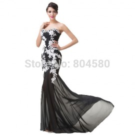 Floor Length Strapless White Appliques Mermaid Trumpet Evening Prom dress Black Formal Party Homecoming Gown CL6257