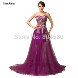 Grace Karin Stock Strapless Embroidery Evening Dress Formal Dinner party dresses Special Occasion Prom Gown CL6165
