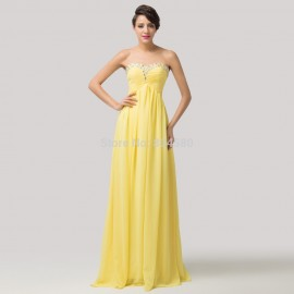 Grace Karin Women Casual Party A Line Floor length Chiffon Yellow Evening dress Long Formal Gown ball prom CL6119