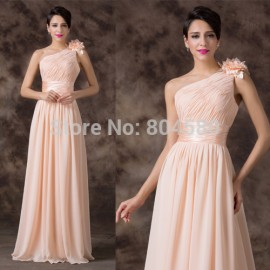 One Shoulder Floor Length Formal Chiffon evening dresses Women Long Prom Party Gown casual dressCL6194