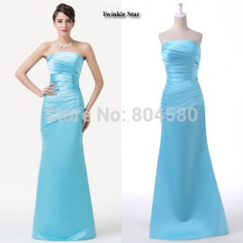 Grace Karin Fashion Women Strapless Sheath Bandage dress Formal Party Gown Long Evening Prom dresses Casual Blue CL6268