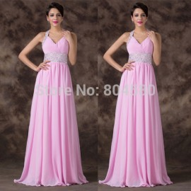 Sexy  Halter Deep V Neck Chiffon Prom Dresses Beaded Crystals Applique Floor Length Evening Gowns Lace up back CL6239