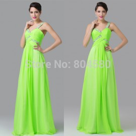 Sexy Women One Shoulder Floor Length Fluorescent Green Ball Night Prom Gown Beach Party dresses Long Evening dress CL6237