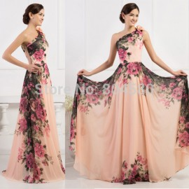 Summer Women Long Floral Print Dress Sleeveless One Shoulder Slim Evening dresses Formal Vintage Pattern Party Gown CL7504