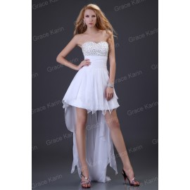 Sexy Strapless Short Front Long Back White Party Gown Chiffon Prom Evening Dress women CL3827