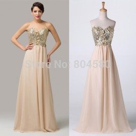2015 New A line Floor Length Sleeveless sequined Formal Evening dress Long Prom Party Gown Plus Size Homecoming dresses 6146