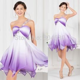 2015 New Knee Length Short vestidos de festa Chiffon Ombre prom dresses One Shoulder Colorful Evening Gown Dress Women 7540