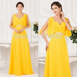 2015 New Sexy Backless V-Neck  Yellow Chiffon Evening prom dress Cheap Formal Party Gown Long Special Occasion dresses 7514