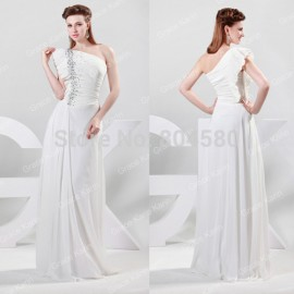 2015 Stock One shoulder White Chiffon Celebrity Dress Formal prom Gown Long Evening party Dresses CL6085 (AL12)