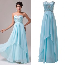 2 Layers New 2015 Women Formal Evening Dresses Bling Slim Backless Blue Prom Dress Summer Banquet Homecoming Party Gown 4504