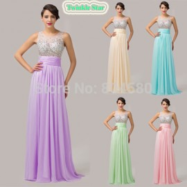 5 Colors Beaded Bust Transparent Back Floor Length A Line Chiffon Evening Dresses Long Formal Party Gown dress CL6110