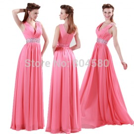 Beach Style Grace Karin In Stock V neck Floor Length Pink Chiffon Bridesmaid dress 2015 Long Wedding Party dresses Cheap 4431