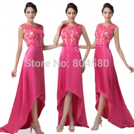 Best Sales Grace Karin Lace Appliques Bandage dress Short Front Long Back Evening Gown Prom dresses  Satin CL6246
