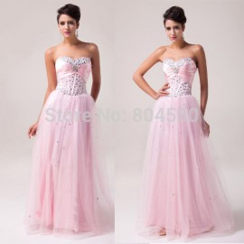 Best Selling Grace Karin Stock Strapless Tulle Celebrity Ball Gown Long evening dresses Formal Prom Gowns CL6042