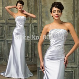 Best Selling Summer Sleeveless Silver Satin Bodycon Dress Floor Length Sexy Evening Prom dresses Long Party Gown Plus Size 2427