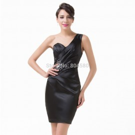 Black Color Satin One Shoulder Sheath Evening dress  Prom Short Gown Sleeveless Bandage dress Women Club Party CL6181