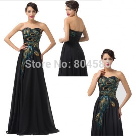 Black Off Shoulder Applique Peacock Celebrity dresses Floor length Chiffon Long Evening Prom dress Women Formal Gown CL6168