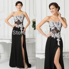 Black Transparent Grace Karin Stock Strapless Appliques Chiffon Evening Gown Dress Long Party Prom dresses 2015 Red Carpet 7519