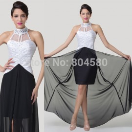 Black&White Special Occasion Novelty High Neck Chiffon Bandage dress Formal Evening Gown Cheap Long Prom dresses Stock CL6285