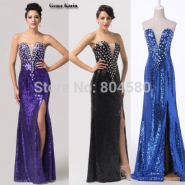 Blue Black Purple Straight Bandage dress Strapless Split Front Sequins Women Evening Party dresses Formal Prom Gown Ball CL6291