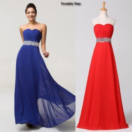 Blue Red Chiffon A Line Long Prom Dresses Floor Length Dress Party Evening Gown Elegant Women Formal Dinner Night Gowns CL7568