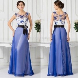 Blue Style Red Carpet Party Clothing Women Cap Sleeve Formal Debut Prom dresses 2015 See Through Long Evening Gown Dress CL7515