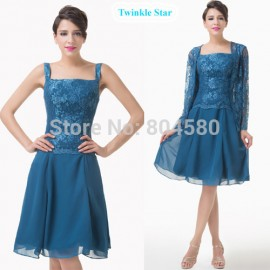 Charming Winter Long Sleeves Knee length Lace Appliques Short Evening dress Mother of the Bride Dresses Women Party Gown CL6235