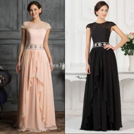 Cheap Grace Karin Floor Length A Line Cap Sleeve Homecoming Maxi dress Long Formal Party Gown Women Evening dresses prom CL7520