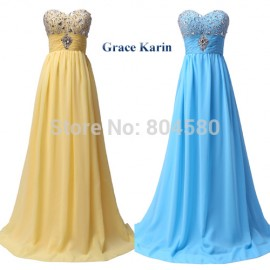 Cheap Price Sexy Stock Strapless Chiffon Celebrity Party Gown Prom Ball Evening Dress 8 Size CL3524