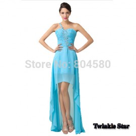 Cheap Stock Sexy Beads Blue Chiffon Short Front Long Back Strapless Evening Prom dresses Women Celebrity Party Dress Gown CL6198