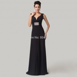 CheapGrace Karin Sleeveless Deep V-Neck Black evening dress Long prom party Gowns Formal Celebrity dresses CL6159