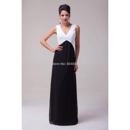 Chic Unique Floor Length Deep V-Neck Office Chiffon Celebrity Dress Formal Evening Prom Party Long Dresses CL6036