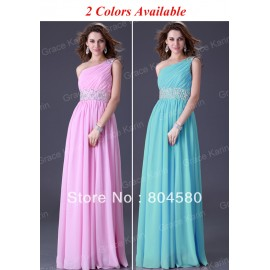 GK Stock One Shoulder Wedding Party Gown  Ball EveningProm Dress 8 Size CL3410