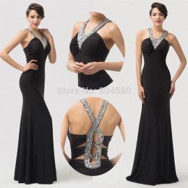 Elastic Open Back Black Prom dresses 2015 Ball Party Dinner Gown Long Bandage dress Women winter formal gowns for Wedding 6157