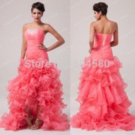 Elegant  Grace Karin Stock Strapless Organza Evening Party Long Dress Formal Gowns  CL6072
