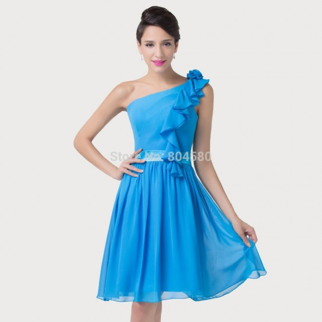 Elegant  Sexy Women Celebrity Backless Ball Blue Short Bandage Dress Party Evening Gown Chiffon Prom Dresses CL6217