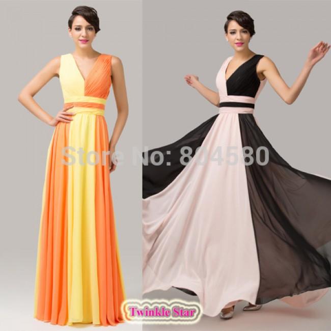 Elegant Deep V neck Maxi Evening dress Empire Line Celebrity dresses Formal prom Gown  CL6172