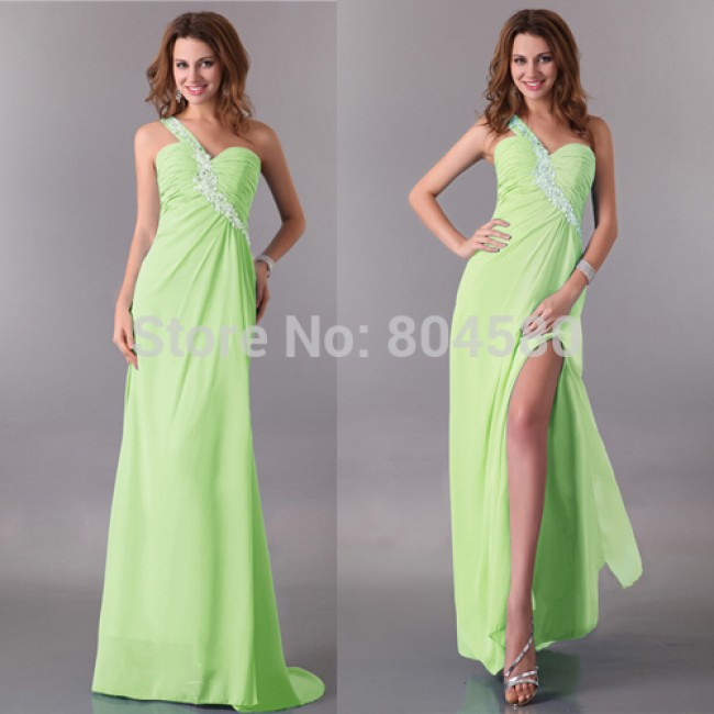 Elegant Design 3 colors One shoulder Floor length women summer dress Sexy Prom dresses Long Evening party Gown CL3183
