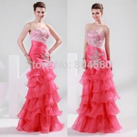 Elegant DesignGrace Karin Stock Strapless Organza women Evening Dress Fashion Prom party Gown Long Mermaid Dress  CL6073