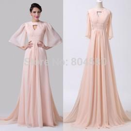 Elegant European Women Flare Sleeve Celebrity dresses Chiffon Floor Length Pink Evening Prom Party Dress vestido de renda CL6271