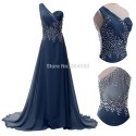 Elegant Fashion Women Summer Full Length One Shoulder Beads Bandage dresses Chiffon evening Prom Party Gown Long dress CL4506