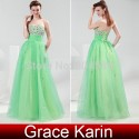 Elegant Grace Karin Stock Strapless Voile beaded Full-length Celebrity Dresses graduation party gown Long evening dress CL4424